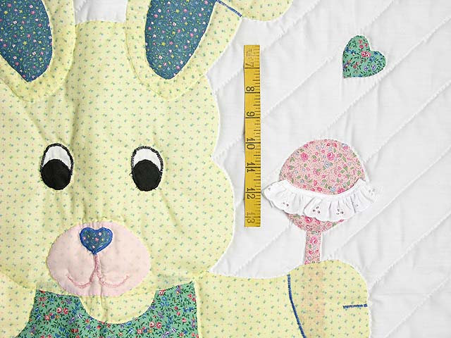 Pastel Pink and Blue Bunny Crib Quilt Photo 3