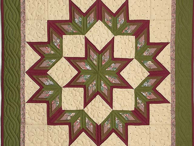 Sage and Burgundy Broken Star Log Cabin Wall Hanging Photo 2