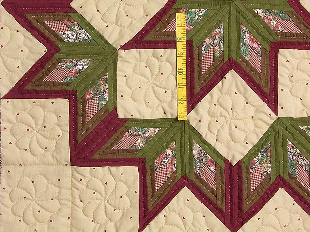 Sage and Burgundy Broken Star Log Cabin Wall Hanging Photo 3