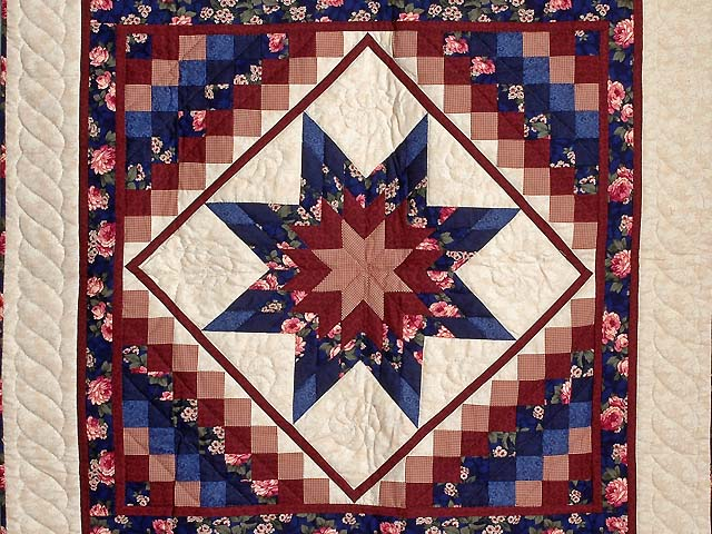 Navy Blue and Burgundy Lone Star Trip Wall Hanging Photo 2