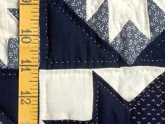 Navy and Cream Feathered Edge Star Crib Quilt Photo 4
