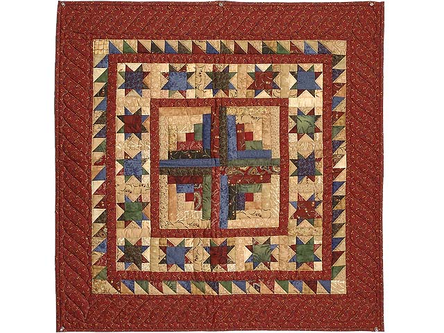 Maroon Golden Tan and Multicolor Stars Around the Cabin Wall Hanging Photo 1