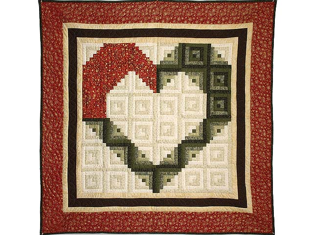 Red Moss and Gold Heart Log Cabin Throw Photo 1