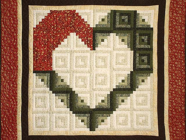 Red Moss and Gold Heart Log Cabin Throw Photo 2