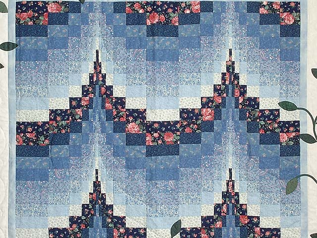 Blue and Rose Twin Peaks Bargello Wall Hanging Photo 2