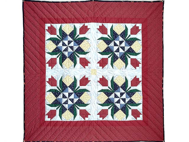 Burgundy Tulip Time Patchwork Wall Hanging Photo 1