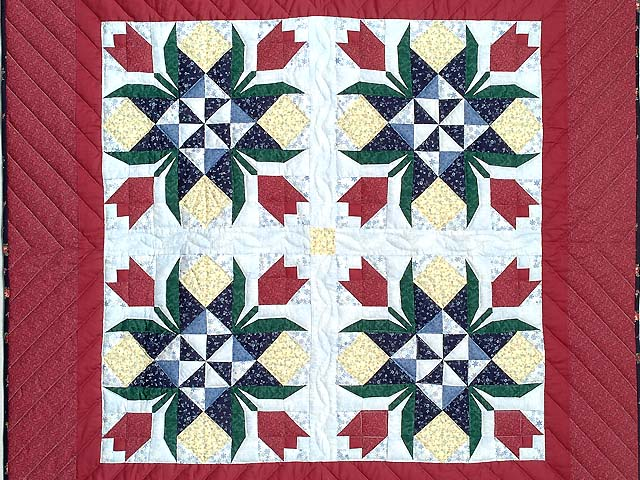 Burgundy Tulip Time Patchwork Wall Hanging Photo 2