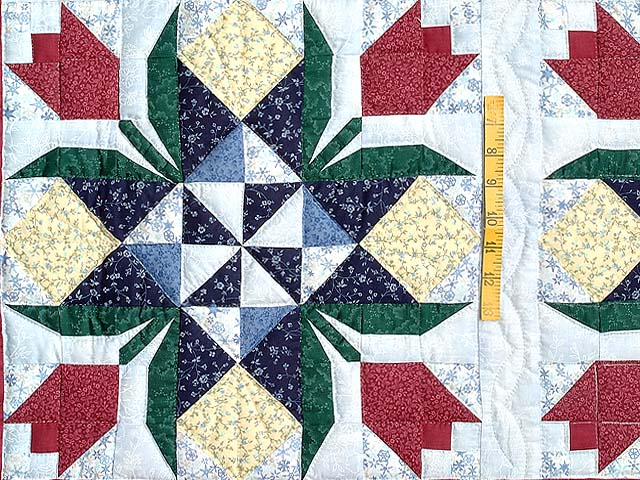 Burgundy Tulip Time Patchwork Wall Hanging Photo 3