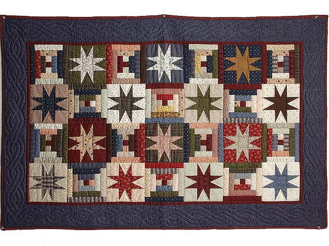 Navy Burgundy and Multicolor Court Step Stars Throw Photo 1
