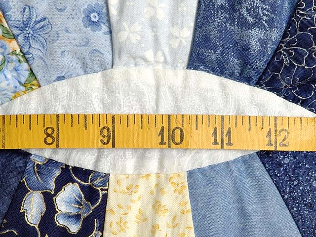 Blue and Yellow Double Wedding Ring Crib Quilt Photo 5