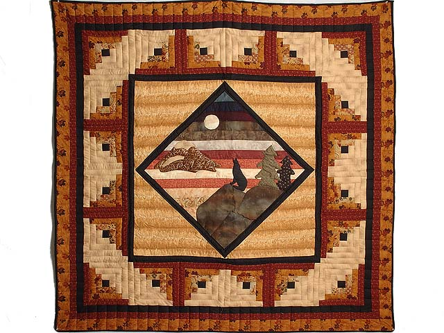 Burgundy and Tan Howling Wolf Log Cabin Crib Quilt Photo 1