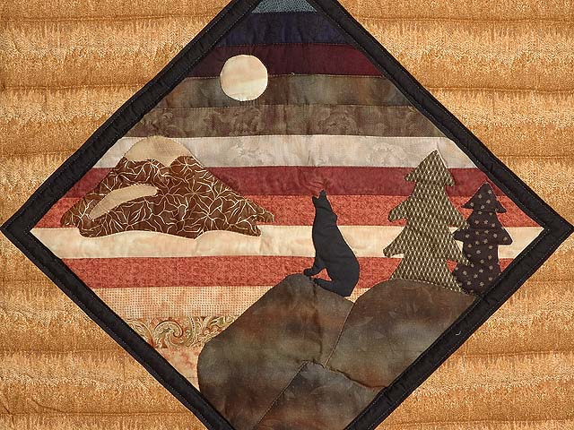 Burgundy and Tan Howling Wolf Log Cabin Crib Quilt Photo 2
