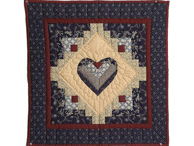 Navy Burgundy and Beige Heart Log Cabin Wall Hanging Photo 1
