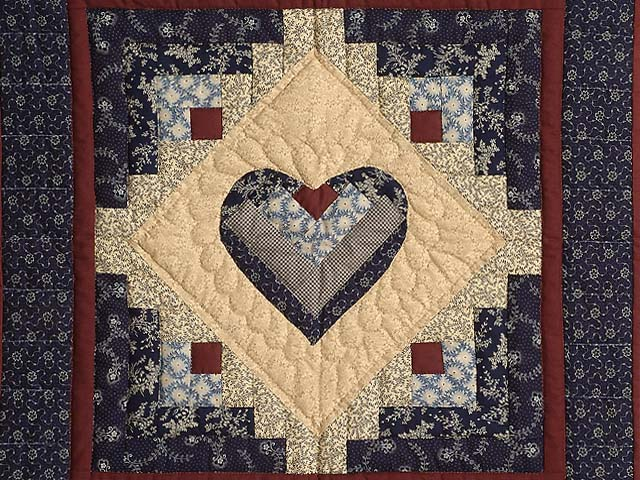 Navy Burgundy and Beige Heart Log Cabin Wall Hanging Photo 2