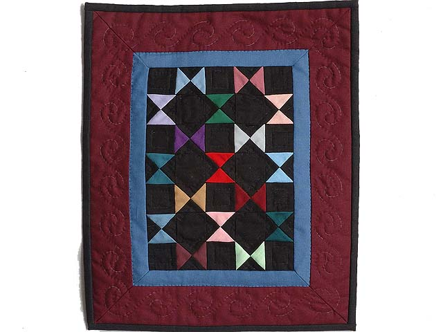 Mini Burgundy and Blue Bow Ties Quilt Photo 1