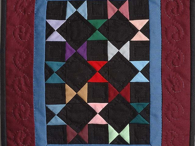 Mini Burgundy and Blue Bow Ties Quilt Photo 2