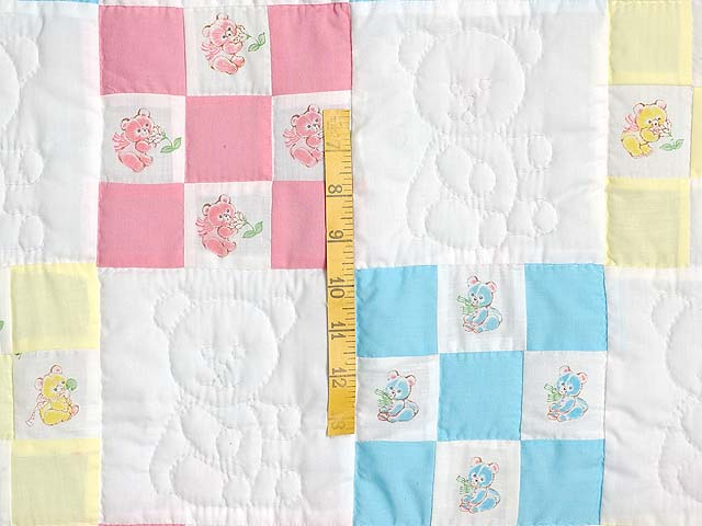Pastel Nine Patch Teddy Bear Crib Quilt Photo 3