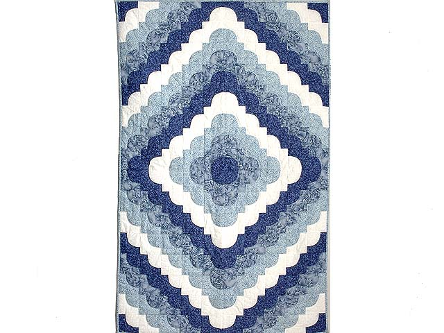 Blue and Ivory Ocean Wave Throw Crib Quilt Photo 1
