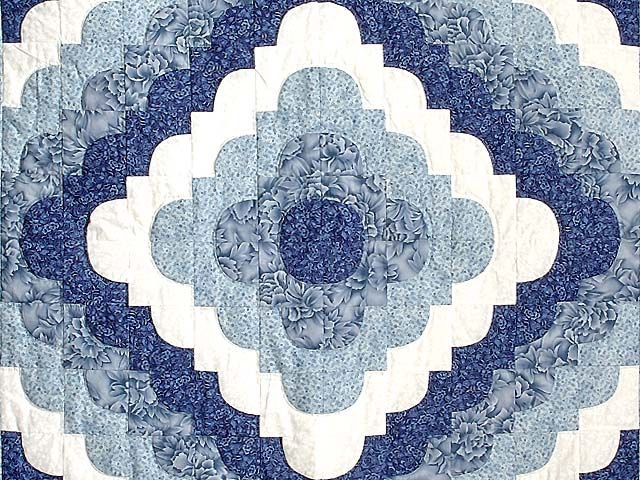 Blue and Ivory Ocean Wave Throw Crib Quilt Photo 2