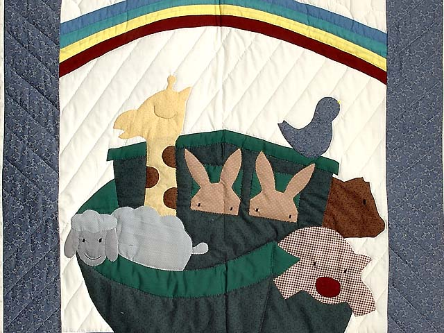 Blue and Red Plaid Noahs Ark Crib Quilt Photo 2