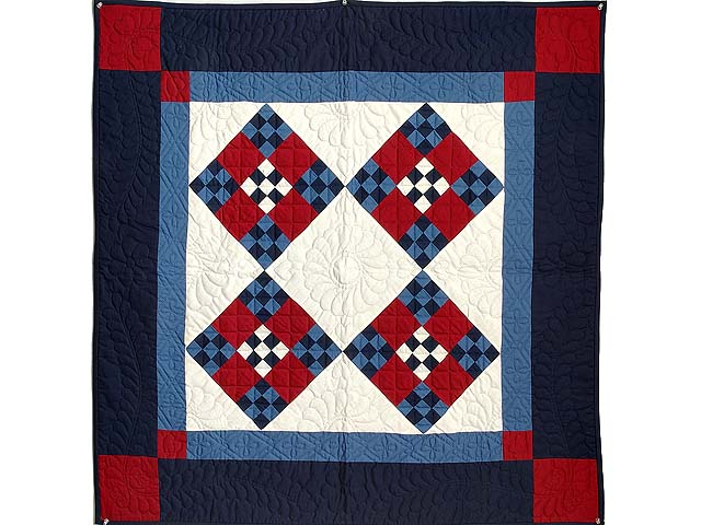 Amish Red White and Blue Nine Patch Wall Hanging Photo 1