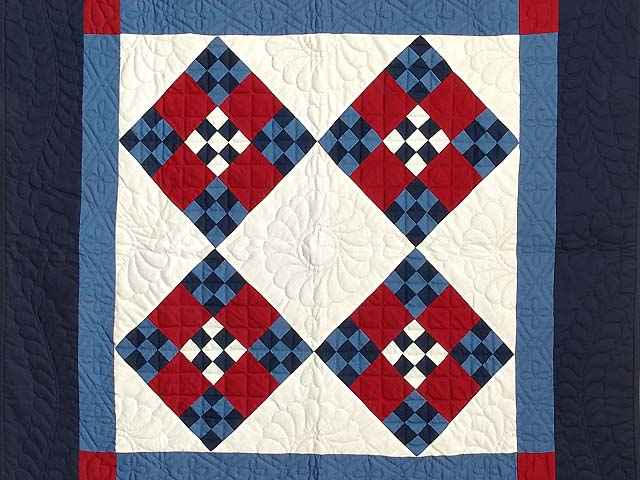 Amish Red White and Blue Nine Patch Wall Hanging Photo 2