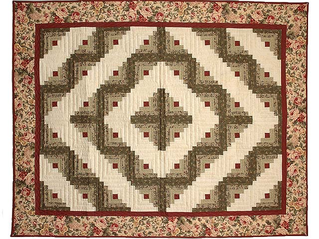Burgundy and Sage Log Cabin Throw Photo 1