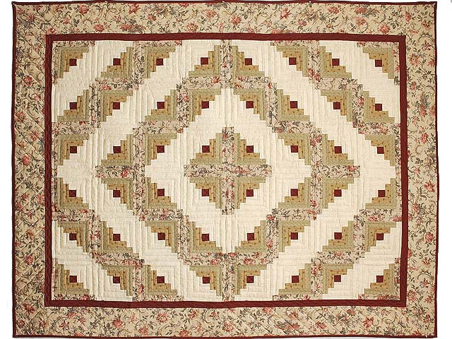 Burgundy and Moss Log Cabin Throw Photo 1