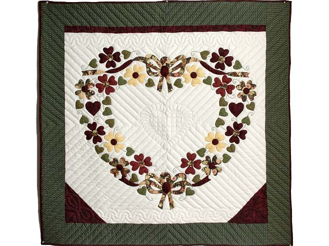 Green and Burgundy Hearts Bouquet Wallhanging Photo 1