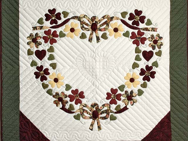 Green and Burgundy Hearts Bouquet Wallhanging Photo 2