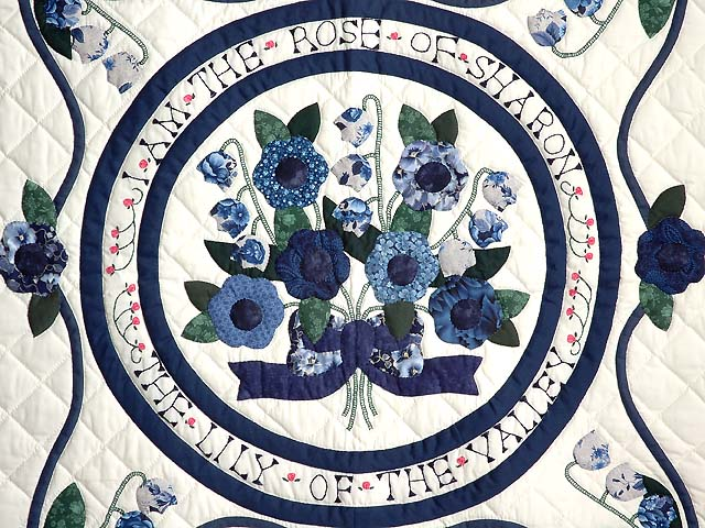 Blue and Navy Rose of Sharon Wall Hanging Photo 2