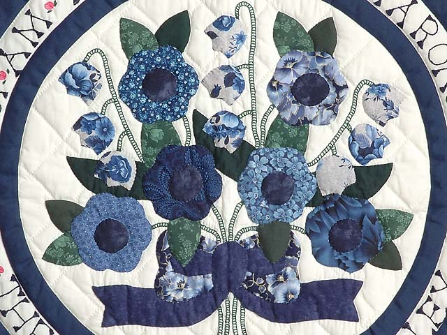Blue and Navy Rose of Sharon Wall Hanging Photo 3