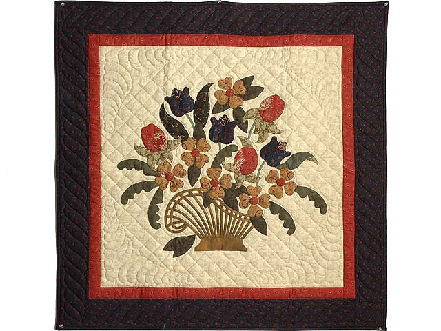 Navy and Paprika Spring Basket Wall Hanging Photo 1