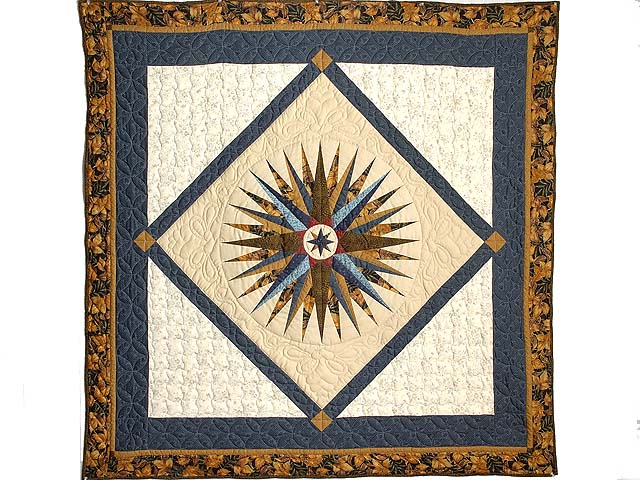 Navy Blue and Gold Mariners Compass Throw Photo 1