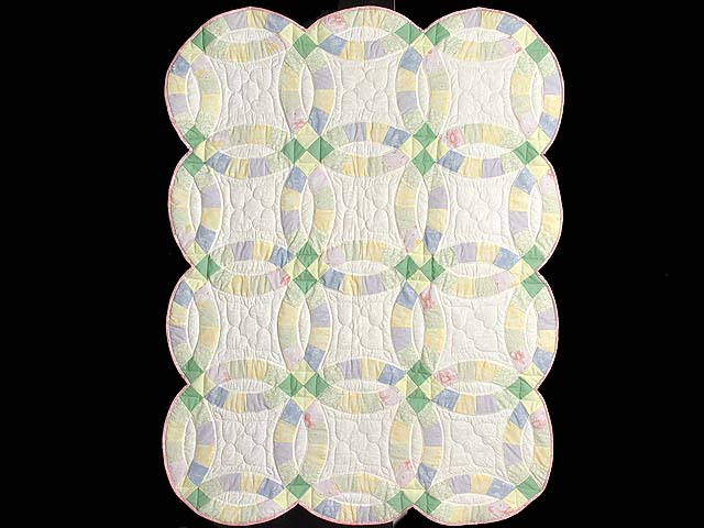 Green and Yellow Pastel Double Wedding Ring Crib Quilt Photo 1