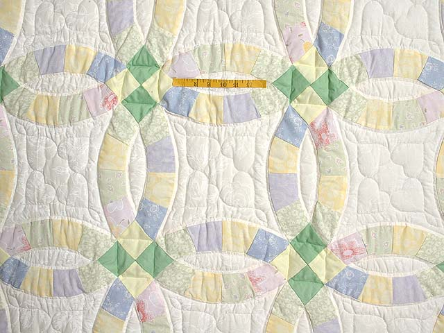 Green and Yellow Pastel Double Wedding Ring Crib Quilt Photo 3