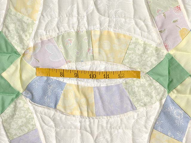 Green and Yellow Pastel Double Wedding Ring Crib Quilt Photo 4