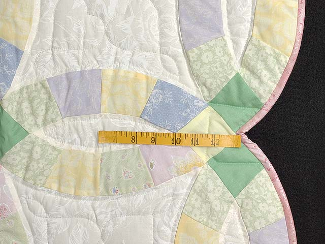 Green and Yellow Pastel Double Wedding Ring Crib Quilt Photo 5