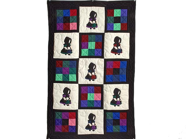 Amish Girl with Doll Nine Patch Crib Quilt Photo 1
