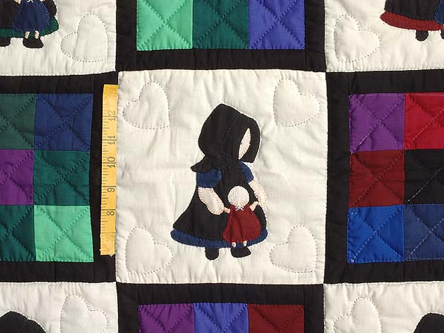 Amish Girl with Doll Nine Patch Crib Quilt Photo 3
