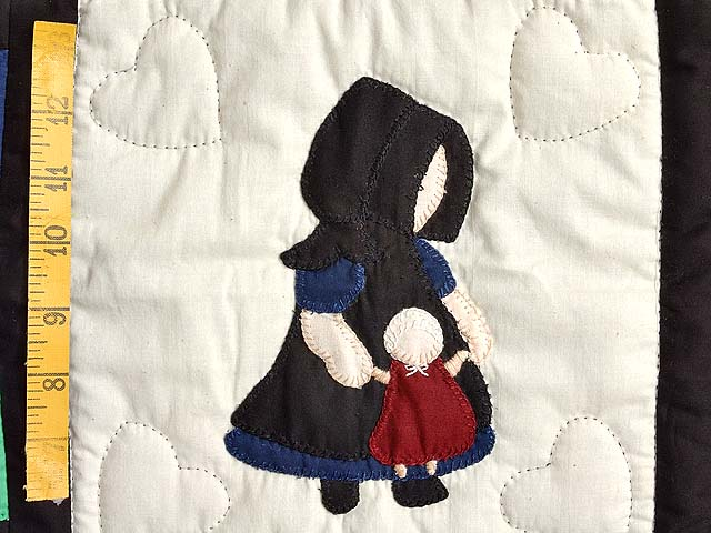 Amish Girl with Doll Nine Patch Crib Quilt Photo 4