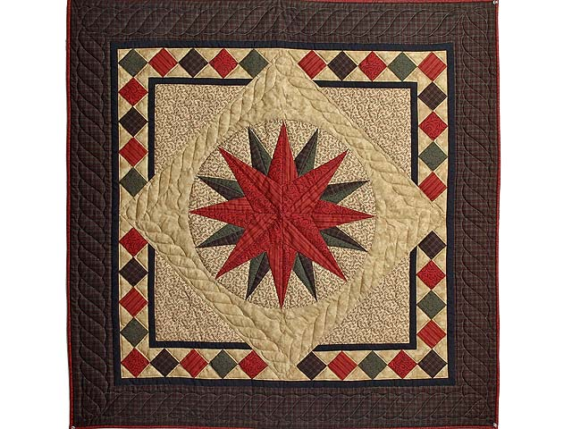 Burgundy and Green Compass Star Wall Hanging Photo 1
