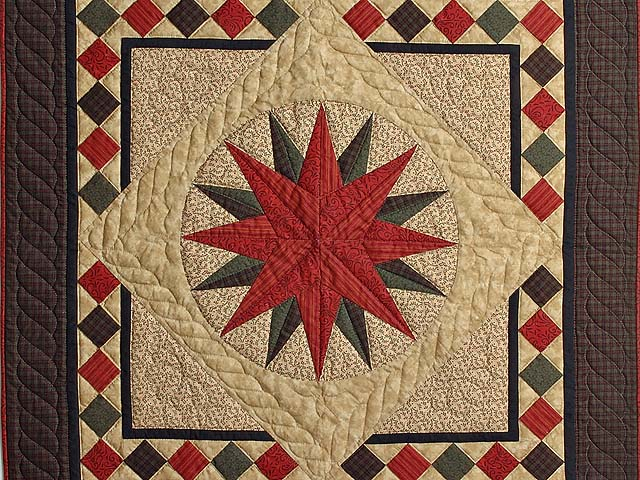 Burgundy and Green Compass Star Wall Hanging Photo 2