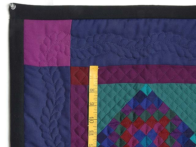 Woolen Amish Postage Stamp Center Diamond Miniature Quilt Photo 3