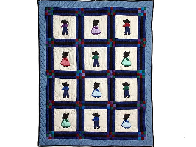 Amish Children Nine Patch Crib Quilt Photo 1