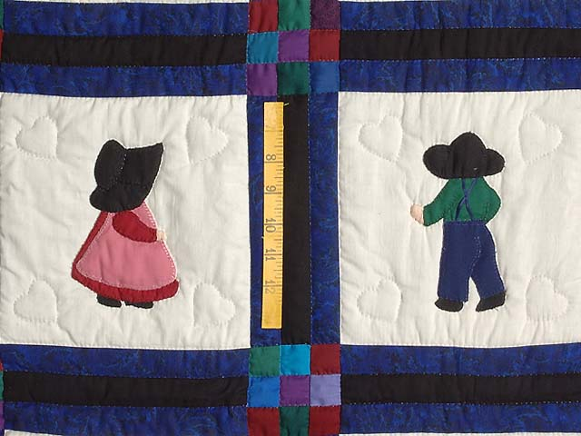 Amish Children Nine Patch Crib Quilt Photo 3
