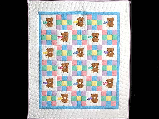 Nine Patch Teddy Bear Crib Quilt Photo 1