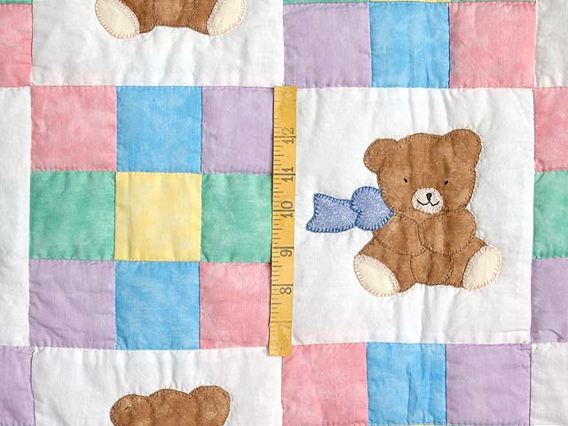 Nine Patch Teddy Bear Crib Quilt Photo 3