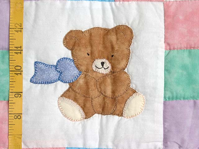 Nine Patch Teddy Bear Crib Quilt Photo 4
