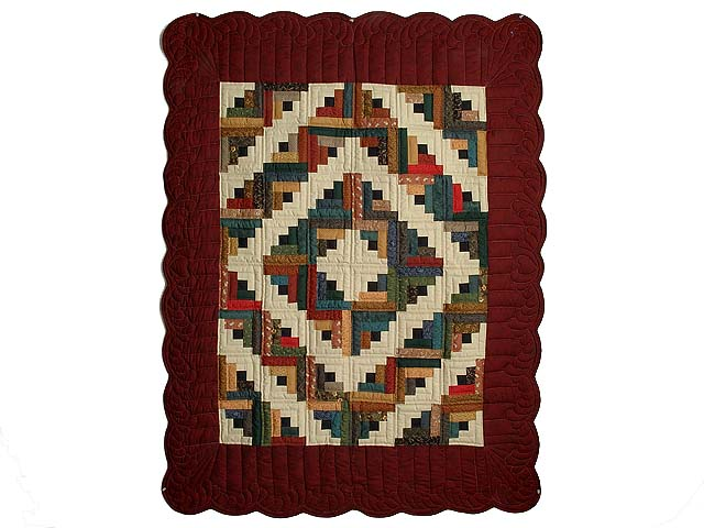 Burgundy and Paper Bag Log Cabin Throw Photo 1